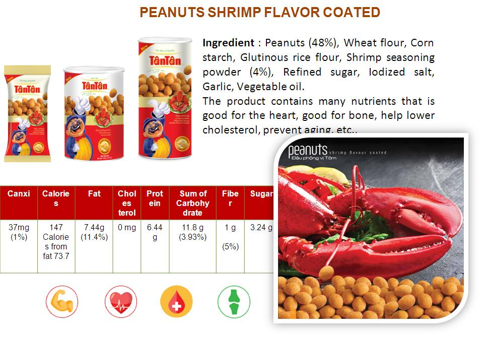 Crispy PEANUT Shrimp flavor snack coated covered wrapped (Tan Tan brand Vietnam, Jolie 84983587558)