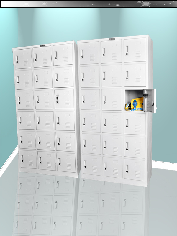 Disassemble 18 door steel clothes locker storage cabinet