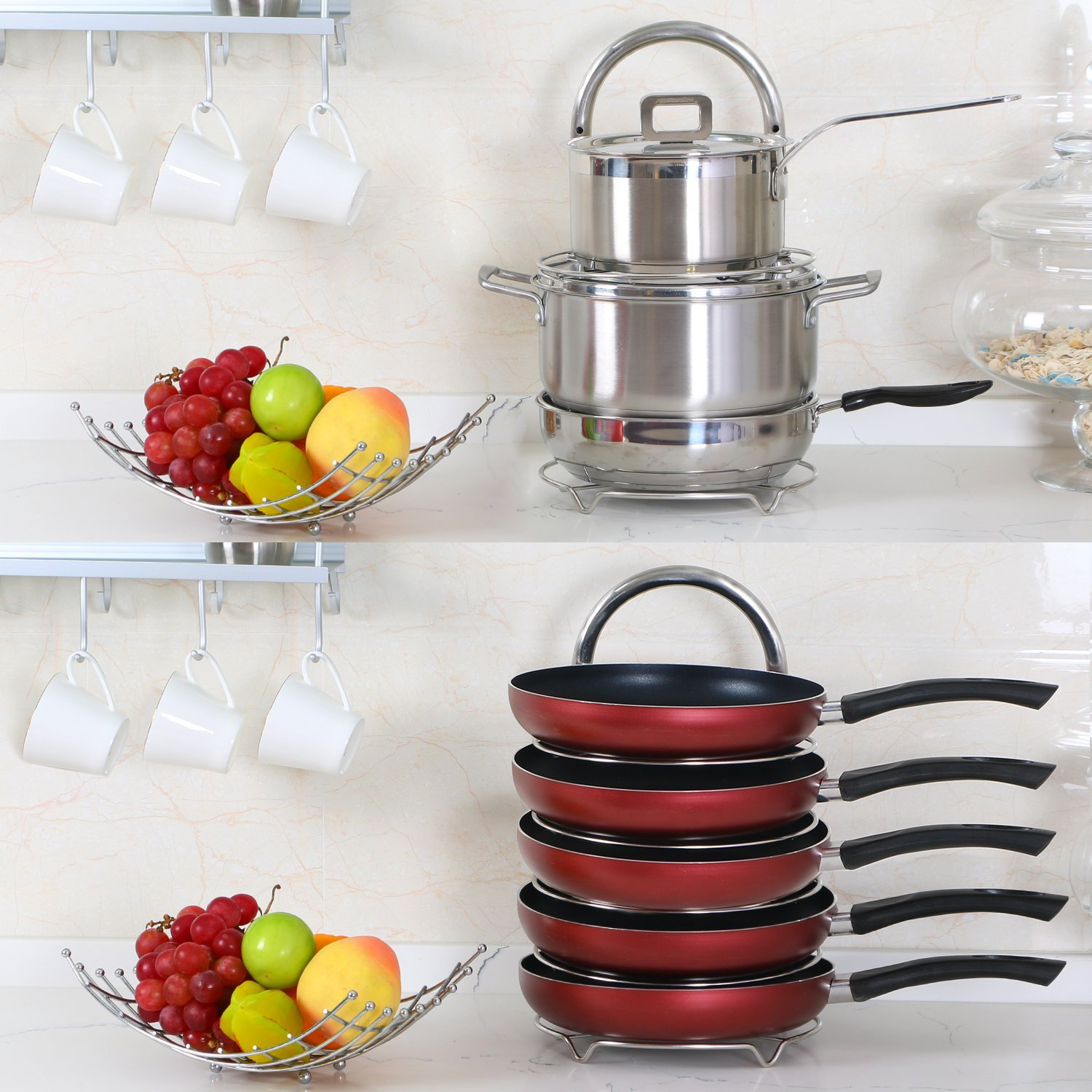 Lifewit 5-Tier Adjustable Stainless Steel Pan Pot Organizer