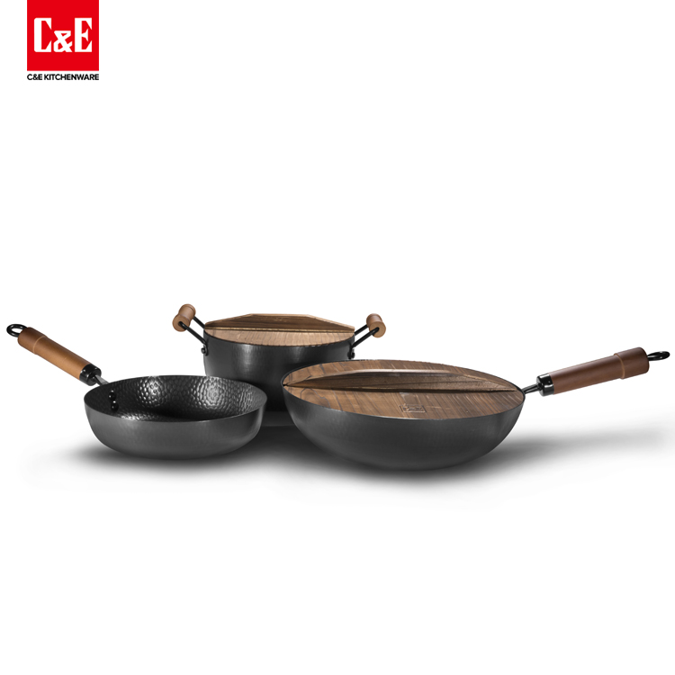 3 Piece Hammered Finished Iron Non Stick Cookware Set With Wooden Lids