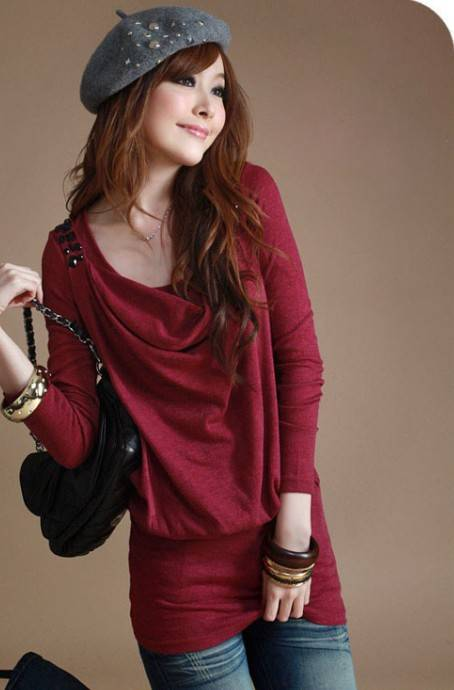 Draped Collar Fake Two-pieces Cotton Tops