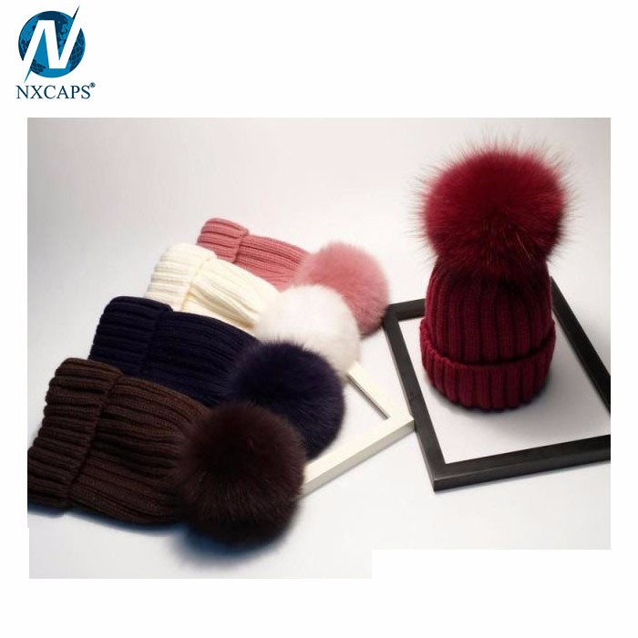 Rabbit fur decorated beanie hats cute women's knitting handmade pom hats wholesale