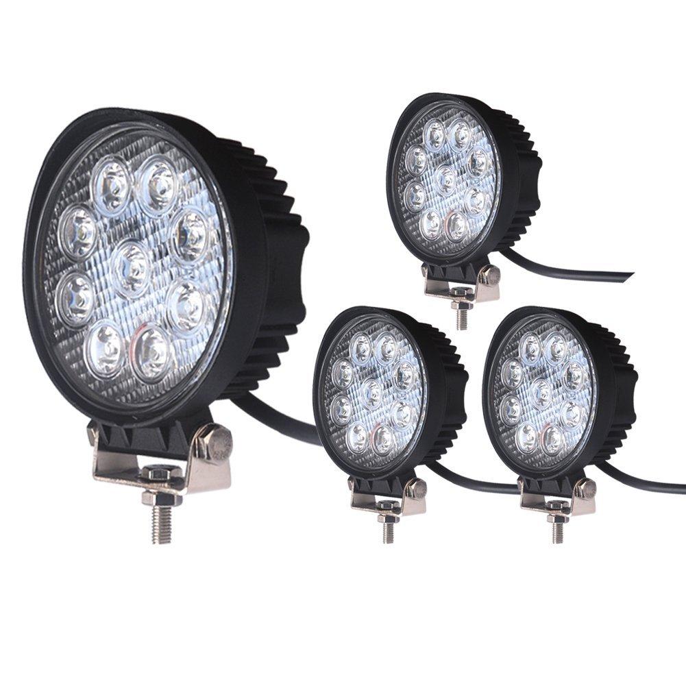 """LED Light Bar LEDKINGDOMUS 4X 27W 4"""" LED Light Pod Flood Round Work Light Offroad Light Led Fog Ligh"""