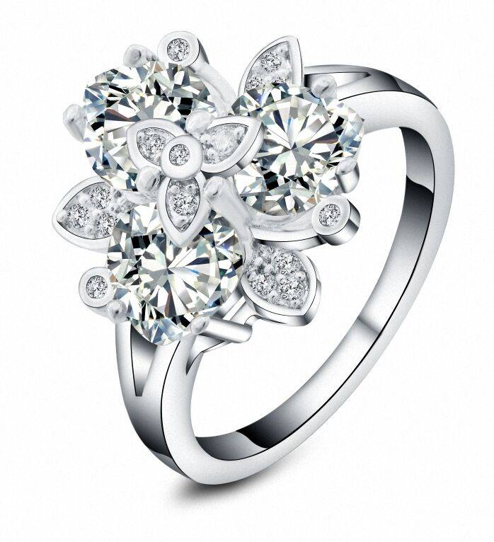 Charm silver jewelry ladies cz zircon flower design finger rings