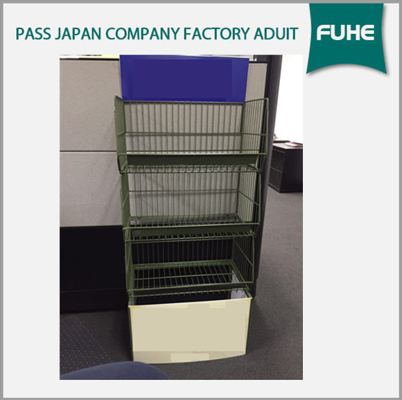 Free Standing Metal Wire Basket Display Stand