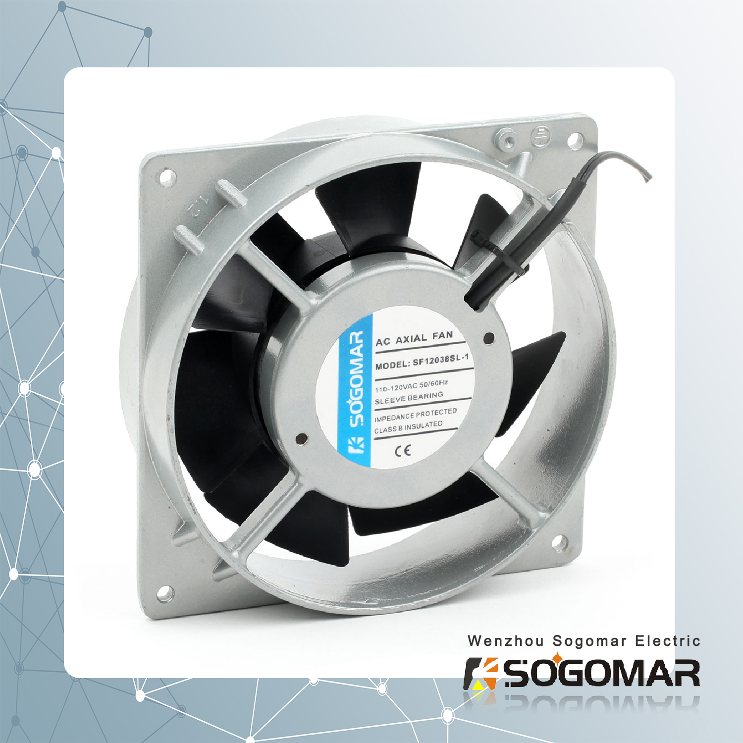 axial fan/ ventilation 120x120x38mm with plastic blades and silver frame
