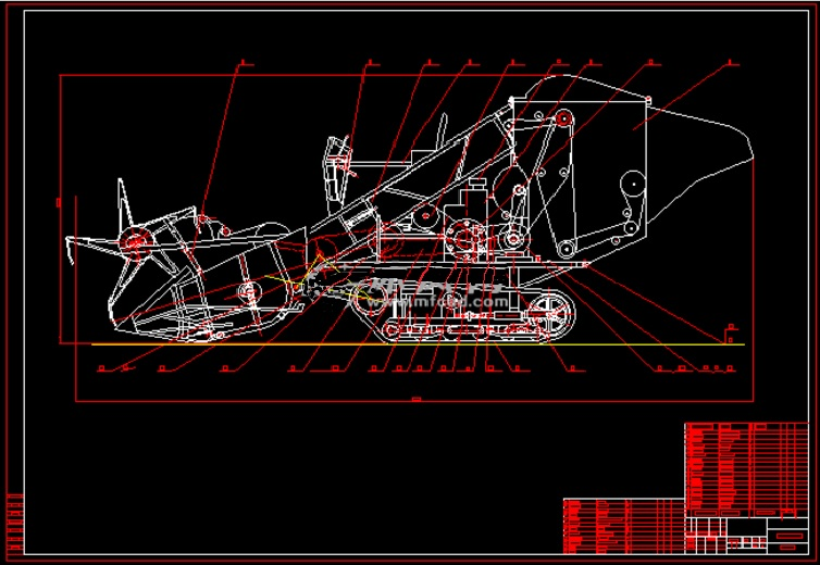 Rice Combine Harvester Blueprint Drawing