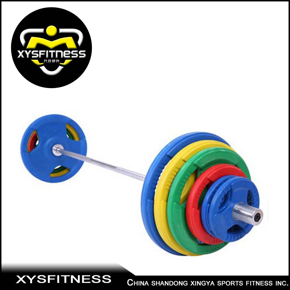 weight barbell rubber cover olympic plate