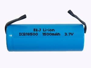 Li-ion Rechargeable Battery With Tabs 3.7V 4/3A 1500 mAh  ICR18500
