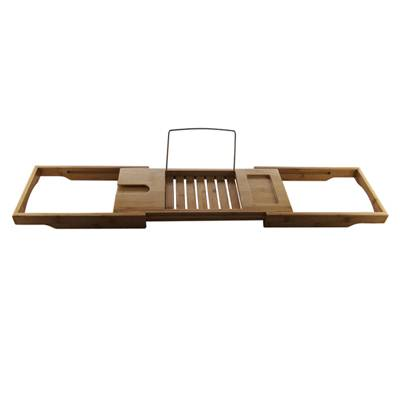Homex Promotional Eco-freindly Portable Bamboo Bathtub Caddy with Bookends