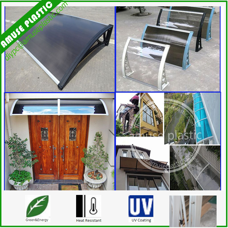 Polycarbonate PC Awning Canopy for Front/Back Outdoor Canopy Awnings