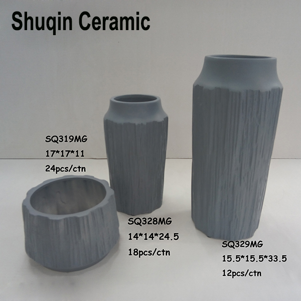 matt gray ceramic vase in dolomite material