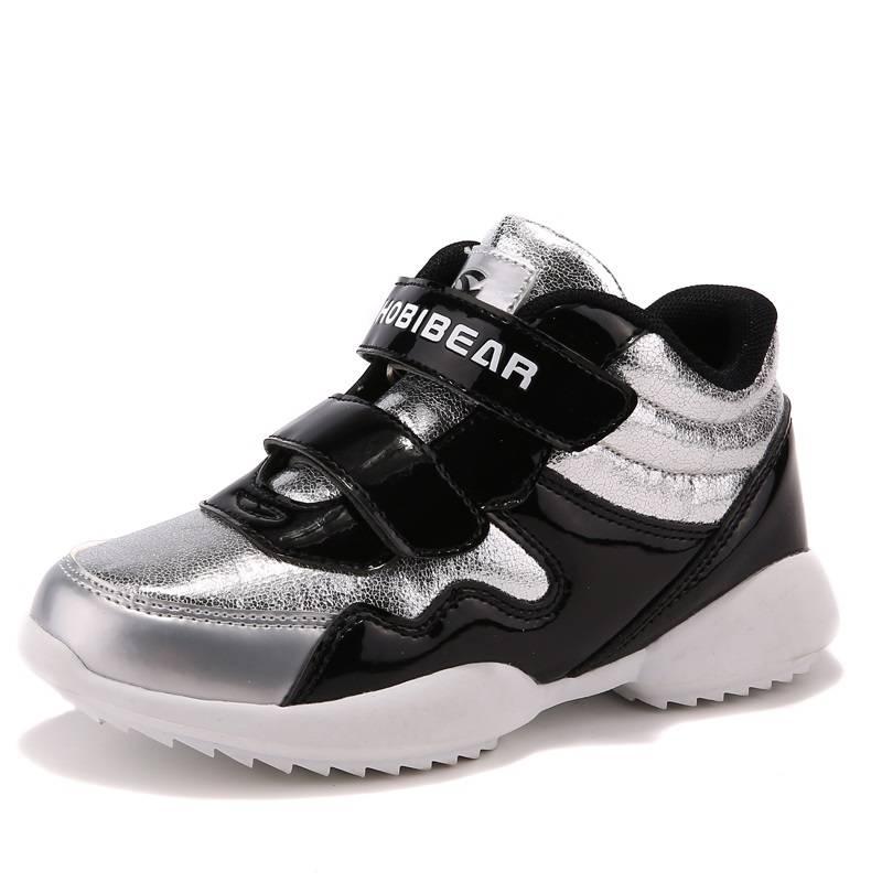 HOBIBEAR new design glitter PU boys black sport sneakers shoes