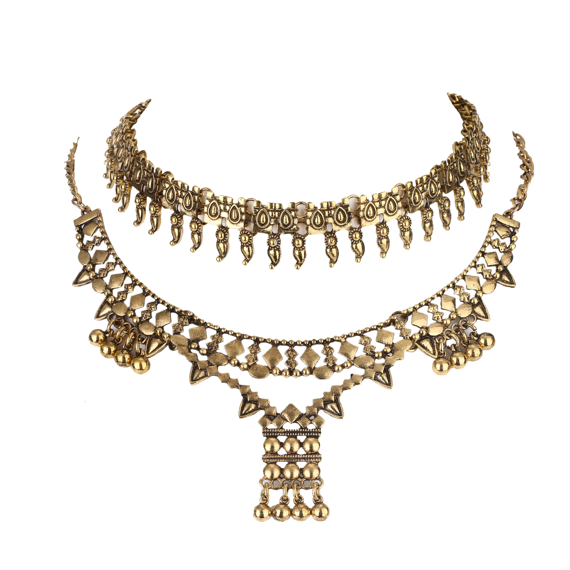 Exaggerated necklace set alloy retro