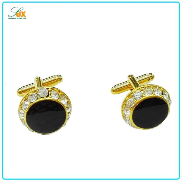 High Quality Fashion Customized Golden Plated Wedding Cufflinks