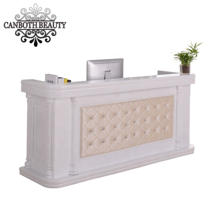 Modern nail salon reception table desk with pu leather decoration in front