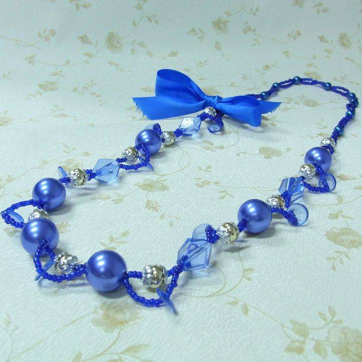 factory direct sell blue pearl necklace costume jewelry