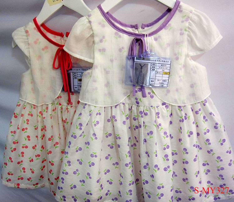 Summer cotton cherry design toddler cute girl party dresses for children