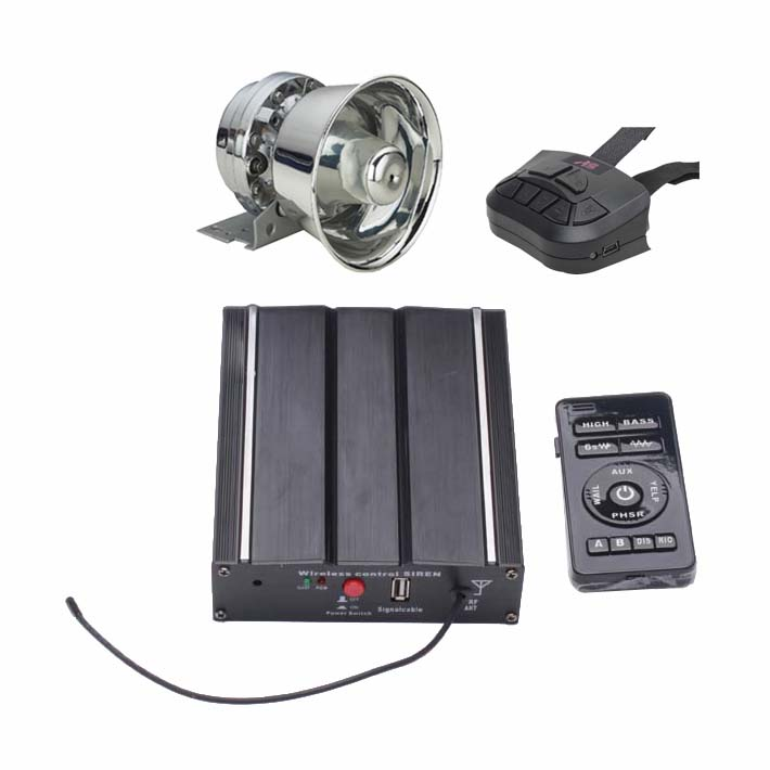 100W Vehicle Siren Kit with Stainless Speaker Dual Remotes Wiring Harness 20 Tones