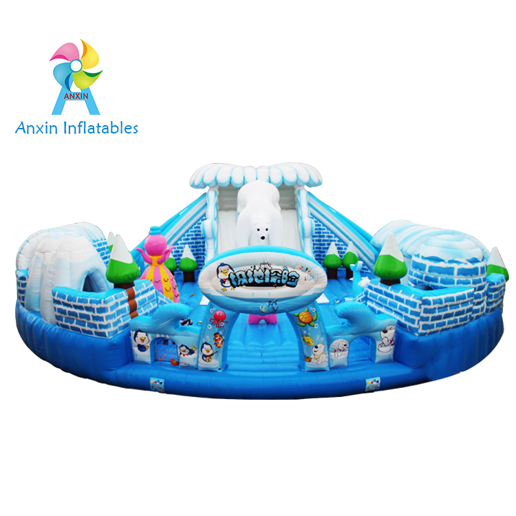 Inflatable fun city castle Polar exploration adventure, interesting white bear inflatable house with