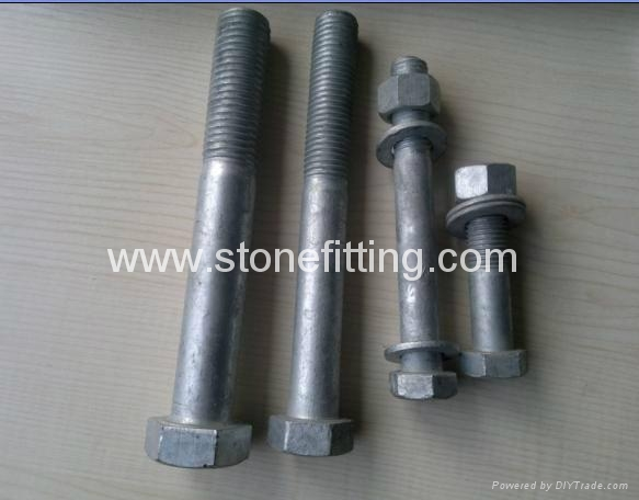 Hot dip galvanized bolt and nuts