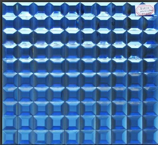 blue color beveled mirror  glass mosaic tiles decorate the wall