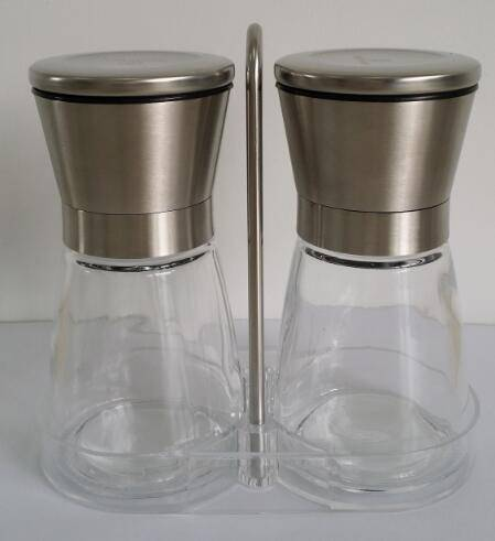 hot sale glass Pepper Grinders set with stand