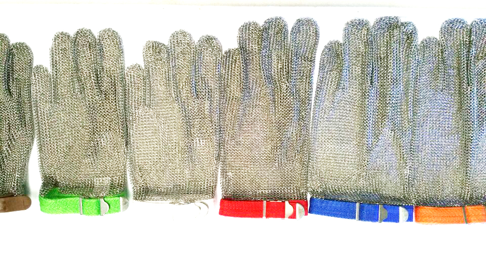 meat processing glove/stainelss steel mesh glove