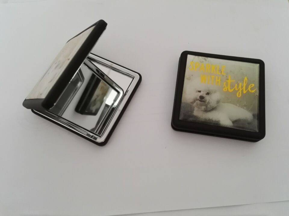 Luxury cosmetic pocket  mirror  for gift with square shape