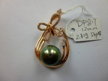 Natural Tahitian Black Pearl 12-12.5mm Pendant 925 Silver Jewelry in Micro Setting