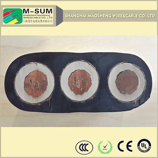 Oil resistance, flame resistance PVC/XLPE insulated low voltage flat power cable for crane