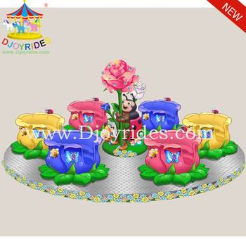 Outdoor Playground Portable Amusement Rides Rose Cup with Trailer