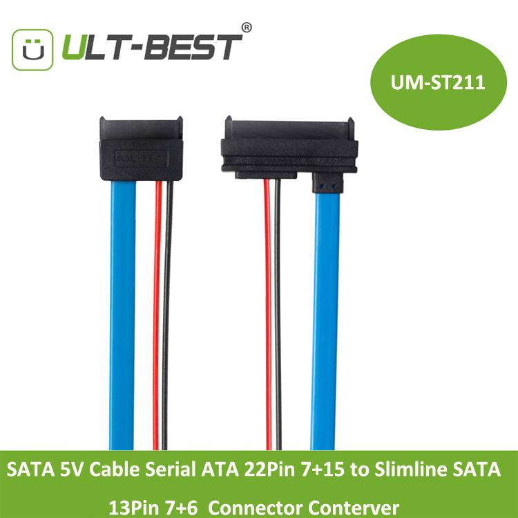 SATA 5V Cable Serial ATA 22Pin 7+15 to Slimline SATA 13Pin 7+6 Connector Conterver 30CM