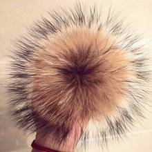 Natural Raccoon Fur Pom Pom Bag Charm Flower Clover