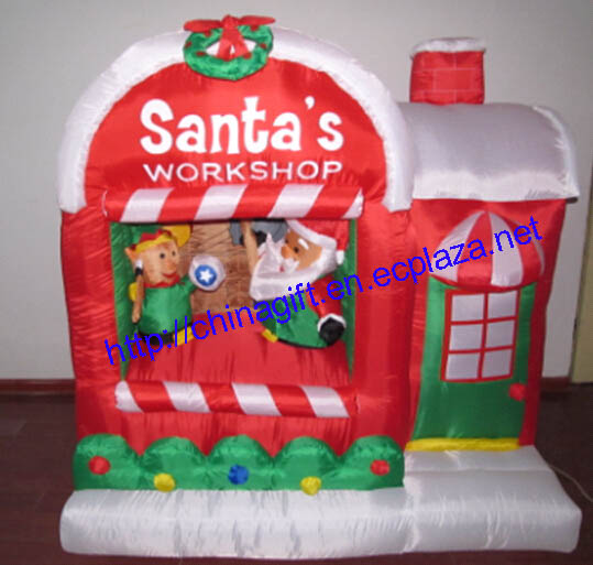 1.6 Meter Air Inflatable Illuminated Santa's Workshop