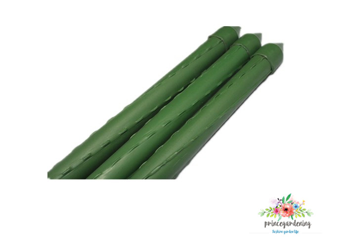 Green Color PE Plastic Coated Steel Garden Stakes 8mm Diameter And 75 length