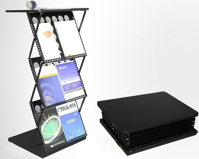 folding literature stand,literature holder with table top,folding magazine rack with table top
