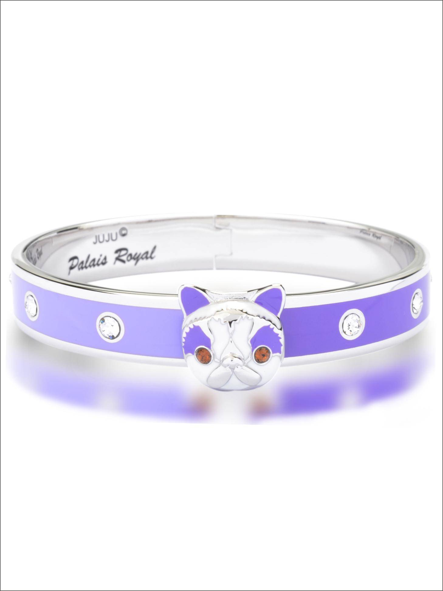 Persian Cat Bangle-platinum Plating Metal Bangle with Enamel