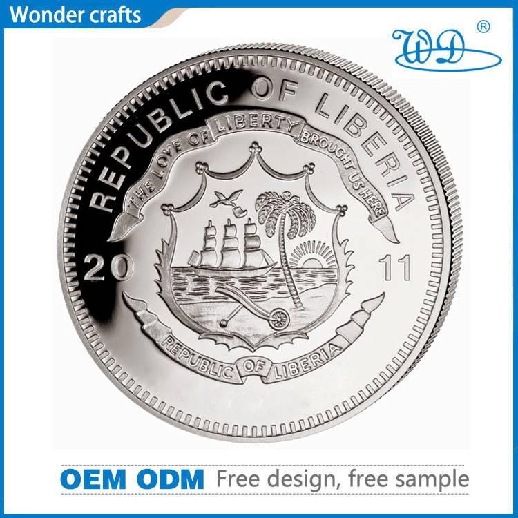 Hot Sale Metal Crafts Pressing Engravable Zinc Alloy Fake Silver Souvenir Liberty Challenge Coins