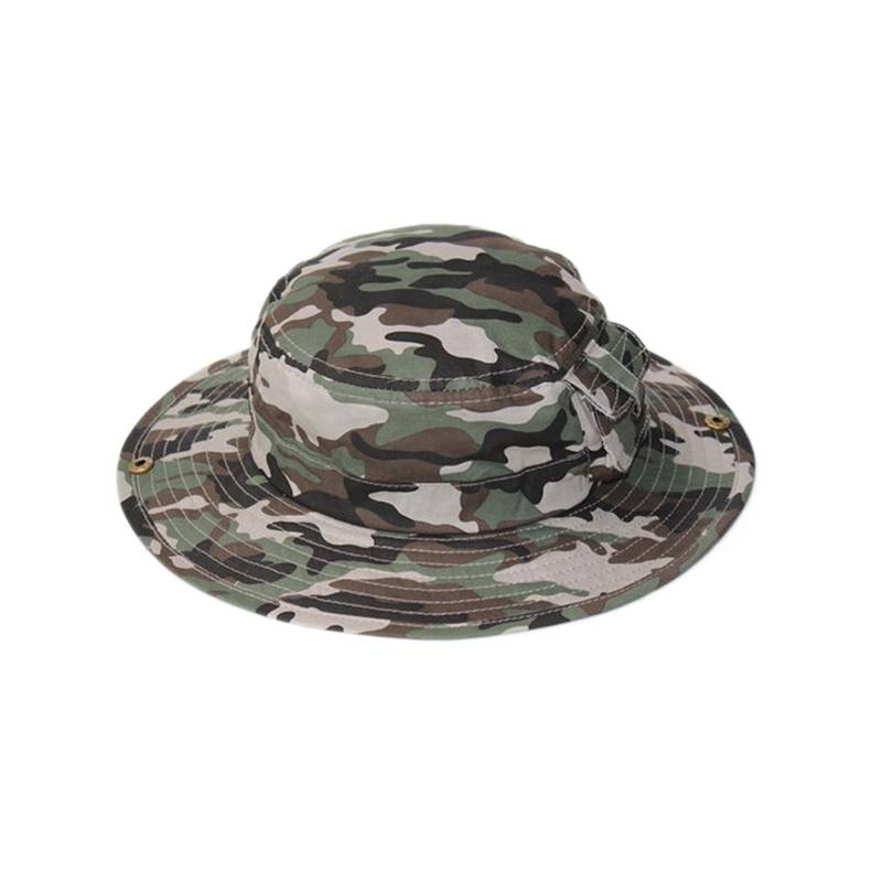 unisex summer outdoor camo fabirc bucket fisherman hat