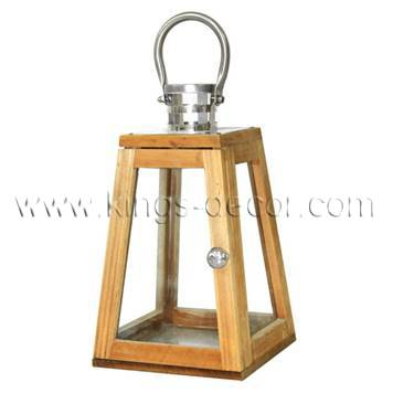 Small brown wood led candle hanging lantern