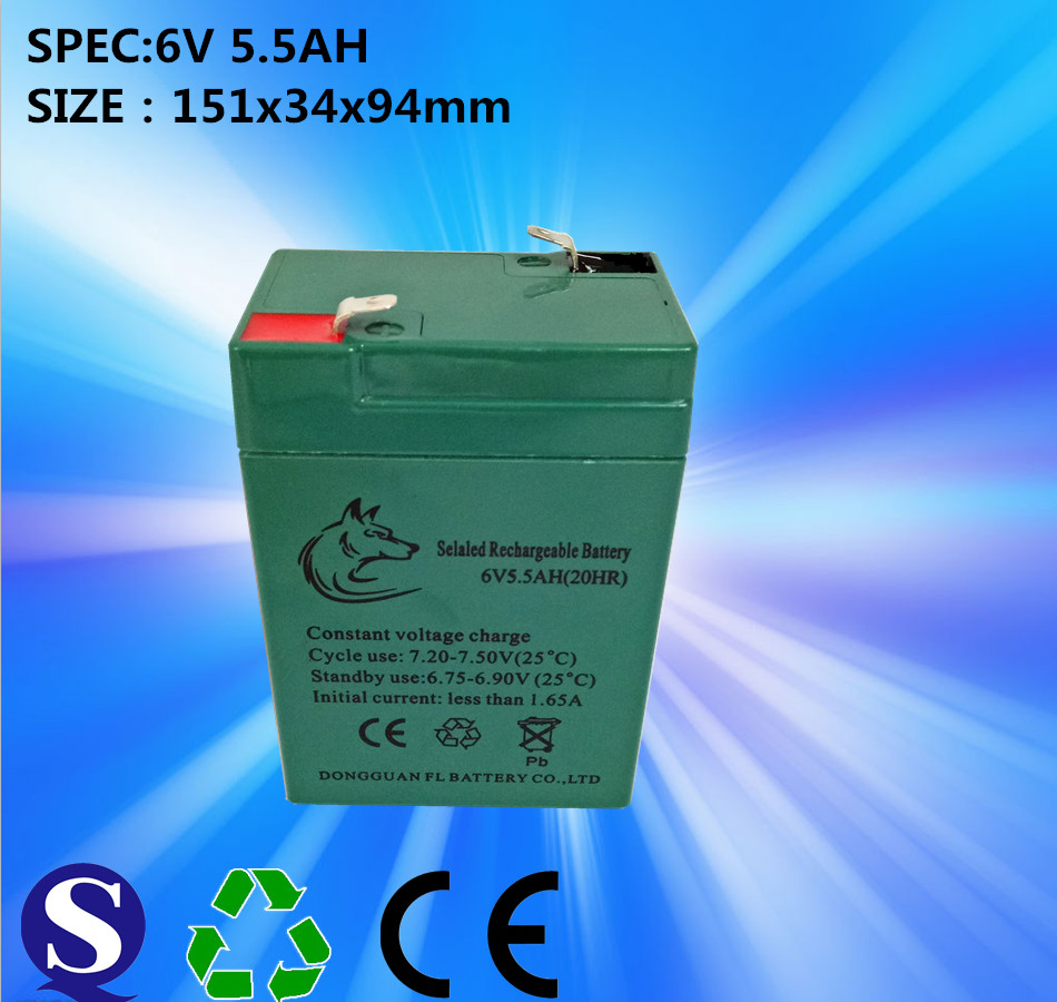 Sealed Lead Acid 6V5.5Ah Solar System, LED Street Light Battery