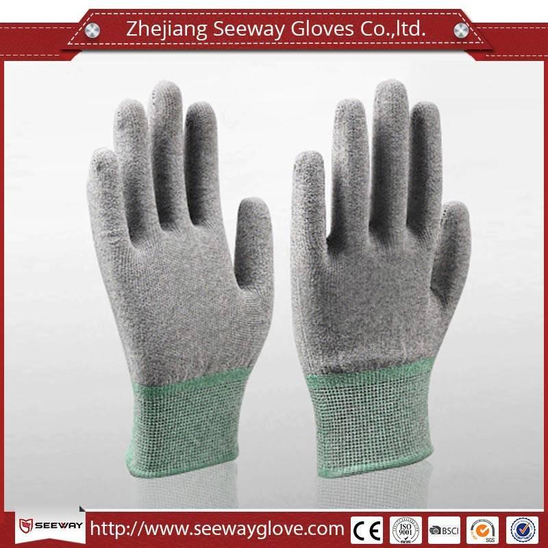 SeeWay 901 13 gauge carbon Fingertip ESD PU coated working gloves