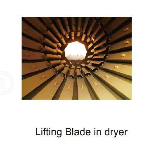 lifting blade in dryer of mixing plant
