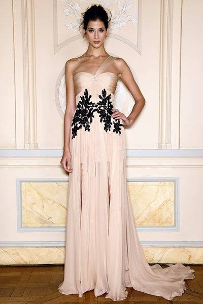 Peach One Shoulder Chiffon Black Lace Long Evening Pageant Dress