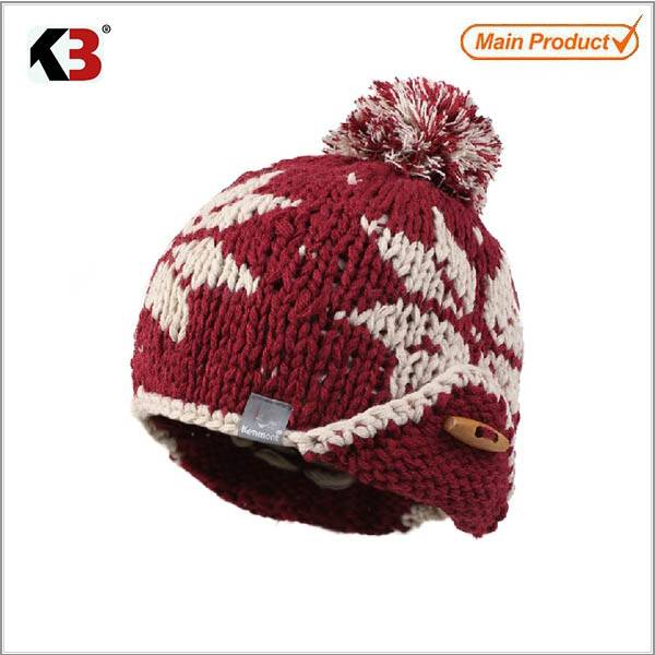 2015 colorful style jacquard dobby knitted hat with ball