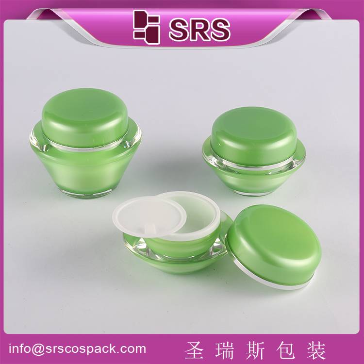 acrylic cosmetic cream jar 50ml for skin care with green color