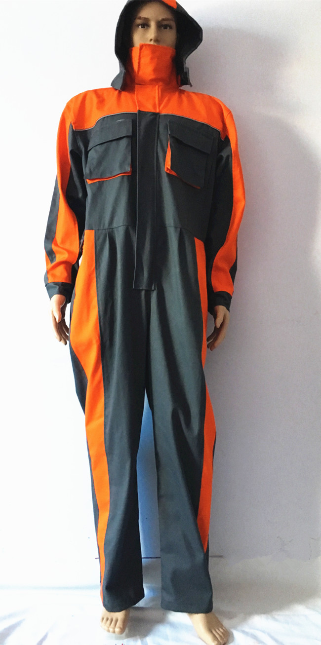 anti fire FR coverall with hood 2 tone