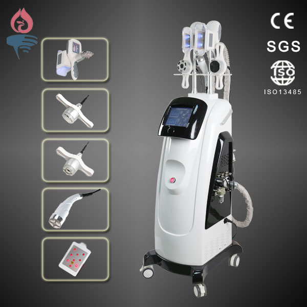 Double cryolipolysis handle+cavitation+RF+Lipolaser cryolipolysis 5 in 1 slimming machine