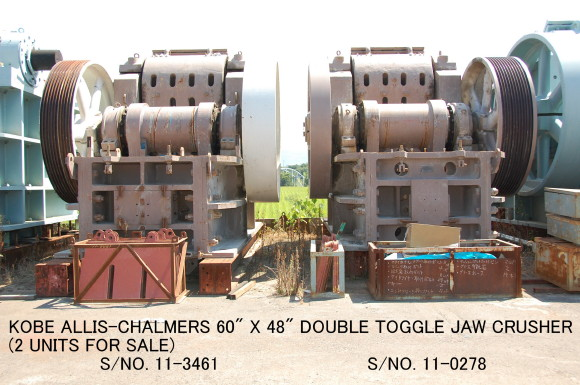 "USED ""KOBE"" ALLIS-CHALMERS 48-60 (60"" X 48"") DOUBLE TOGGLE JAW CRUSHER S/NO.11- 0278 & S/NO.11-3461"